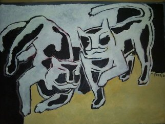 Cats Acrylic Painting by Peeli - R Sri Murugan Title: Balance, created in 2008