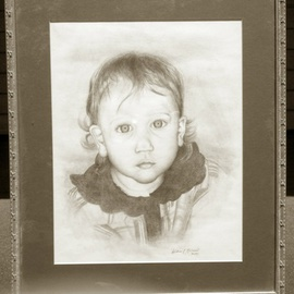William Mccowan: 'Catherine', 1997 Pencil Drawing, Children. Artist Description:   Pencil drawing of my daughter Catherine on the beach.  ...