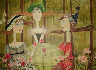 Susan A. Piazza: 'Three at Tea', 2009 Acrylic Painting, Beauty.