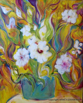 Nancy Goodenow: 'bright flowers', 2016 Acrylic Painting, Abstract Figurative. Artist Description:  Original            ...