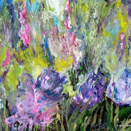 Nancy Goodenow: 'flower garden', 2011 Acrylic Painting, Floral. Artist Description:   acrylic  on wood panel   ...