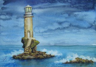 Mark Spitz: 'lighthouse', 2017 Watercolor, Seascape. Artist Description: Painting of a Lighthouse located on a small lone rock Island with waves crashing upon it...