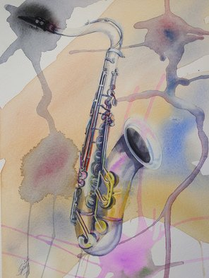 Mark Spitz: 'saxophone', 2017 Watercolor, Music. Artist Description: watercolor painting of a Saxophone with an abstract background. This painting comes with a 9 x 12 , Study Ofpainting on Acrylic paper ...