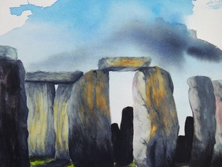 Mark Spitz: 'stonehenge', 2017 Watercolor, Mystical. Artist Description: Painting of the famous Stonehenge from a different up close perspective. This painting comes with a 9 x 12 , Study Ofpainting on Acrylic paper ...