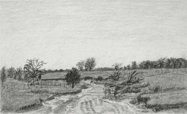 keith thrash artwork dry creek bed original drawing pencil