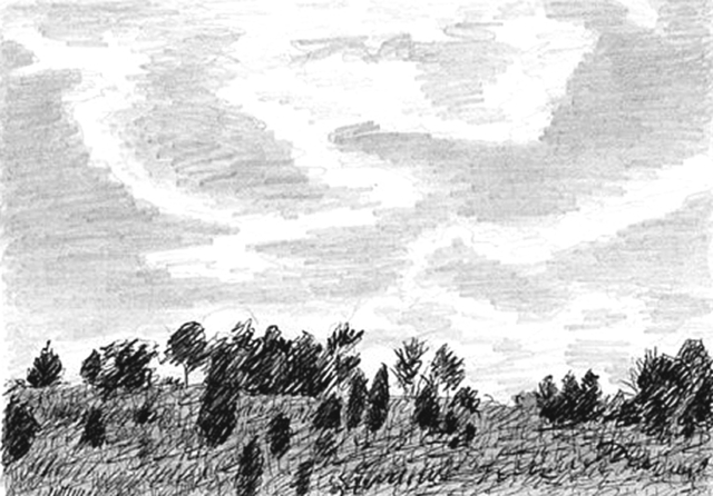 Artist Keith Thrash. 'Hillside With Clouds' Artwork Image, Created in 1986, Original Drawing Other. #art #artist