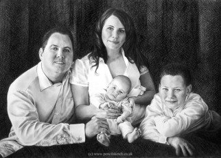 Pencil Drawing by Anna Shipstone titled: Family Group in Pencil, 2011