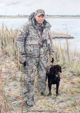 Pencil Drawing by Anna Shipstone titled: Hunter with Dog, 2010
