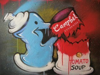Ross Hendrick: 'Spray Can vs Campbells Soup', 2014 Mixed Media, Satire.  Pop art parody, using the Campbells soup tin and the graffiti can to represent the new movement of graffiti entering the pop art world. ...