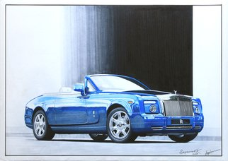 Sreejith Krishnan  Kunjappan: 'blue phantom', 2015 Marker Drawing, Automotive. Artist Description: Rolls Royce cars have always been among my favorites, especially the Phantom series. This marker rendering is of a handsome looking Phantom Drophead Coupe with its top down. I have paid special attention to capture the grille details and the smooth reflection of the sky. Thanks for viewing. ...