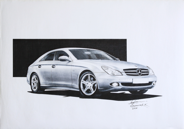 Sreejith Krishnan  Kunjappan  'Mercedes Benz Cls 2008', created in 2015, Original Drawing Pencil.