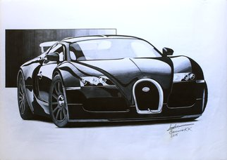 Sreejith Krishnan  Kunjappan: 'mighty black', 2015 Marker Drawing, Automotive. Artist Description: This artwork is always special to me since it is my very first marker rendering. I chose this subject because I wanted my first rendering to be of a car really close to my heart. The Bugatti Veyron, though has lost the title of the world s fastest ...