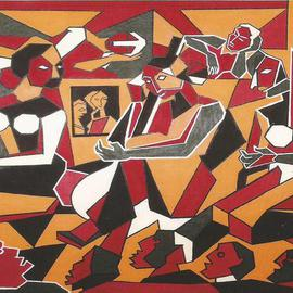 Shribas Adhikary: 'Indian culture event', 2009 Acrylic Painting, Abstract Figurative. Artist Description: Indian culture event geometric form...
