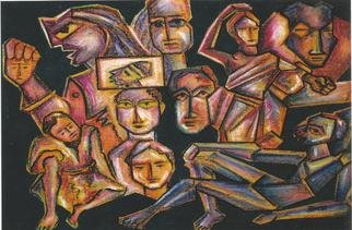 Shribas Adhikary Artwork Tired people, 2011 Pastel Drawing, Abstract Figurative