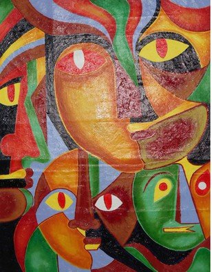 Shribas Adhikary: 'pluralism through colour', 2015 Oil Painting, Abstract Figurative. Artist Description:    this painting realistic figurative The creation of original art to me. This is my abstract imagination. pluralism through variety colour facial expression showed and feelings. I am sorry this painting art work incomplete. the painting work continuing. when completed the art of painting next I, ll load up.     ...