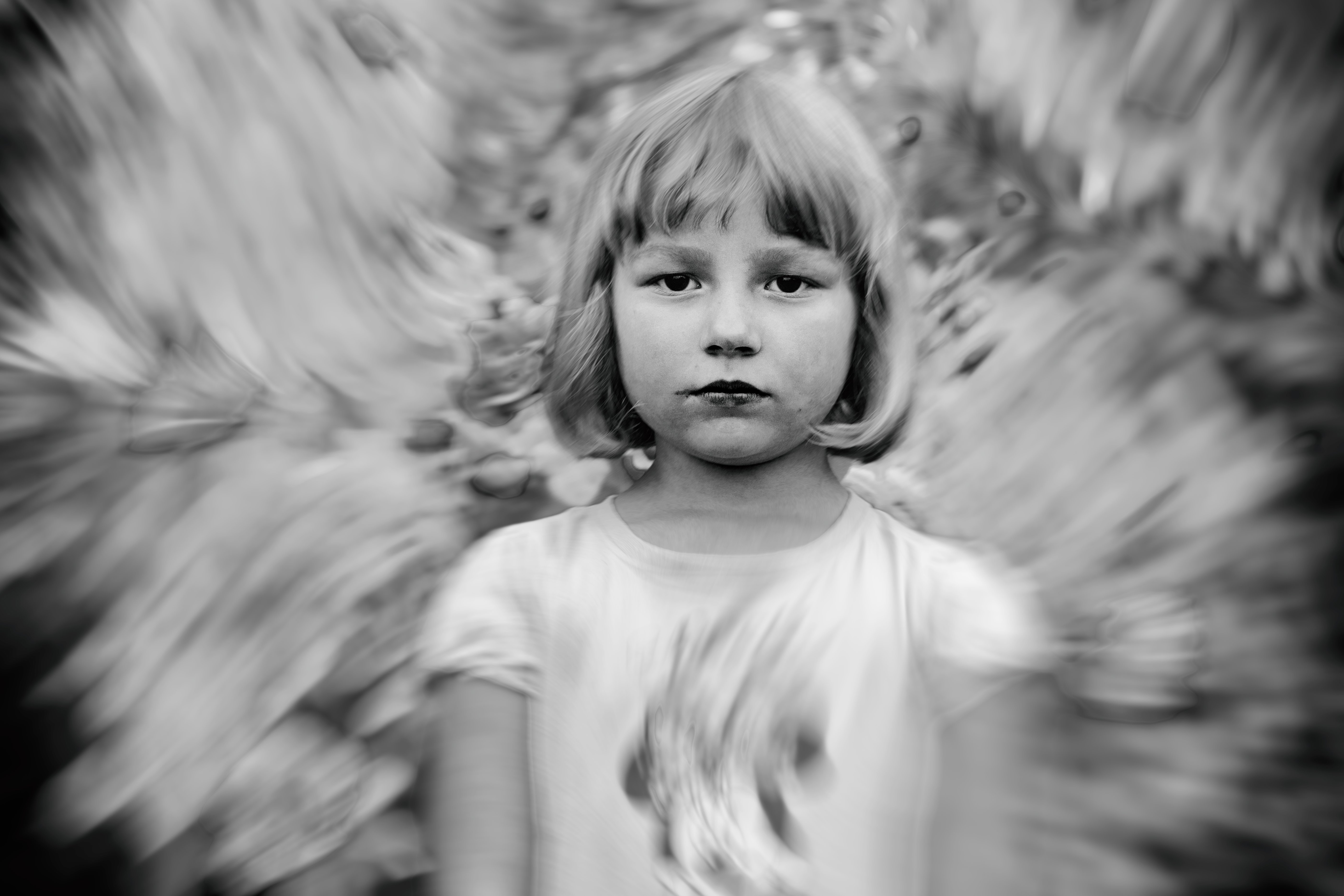 Tomislav Stajduhar: 'swirl girl', 2017 Black and White Photograph, People. Artist Description: Portrait of a young girl caught in a visual swirl. ...