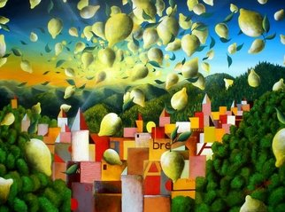 Massimiliano Stanco: 'A Lemon Explosion before Sunset', 2009 Oil Painting, Surrealism.  Breathing deeply the fresh alpine air and the strong citrus essence.Smell with your eyes to believe. ...