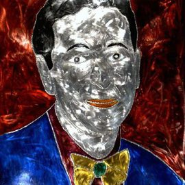 Henning Block: 'CHARLES SAATCHI', 2010 Steel Sculpture, Abstract Figurative. Artist Description:  Steel- Portrait- Charles SaatchiWelding portrait flame paintingwith glass color. From the autodidactic, educating contemporary artists. Contemporary steel art work. ...