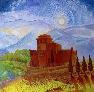 Steve Doan Artwork tuscan castle, 2015 Acrylic Painting, Abstract Landscape