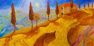 Steve Doan Artwork tuscan farm, 2015 Acrylic Painting, Abstract Landscape