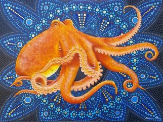 Stephen Bibb: 'octopus mandala', 2019 Acrylic Painting, Mandala. The enigma of the octopus, intertwined in the enigma of the mandala. Who can understand either of them ...