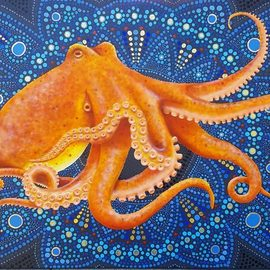 Stephen Bibb: 'octopus mandala', 2019 Acrylic Painting, Mandala. Artist Description: The enigma of the octopus, intertwined in the enigma of the mandala. Who can understand either of them ...