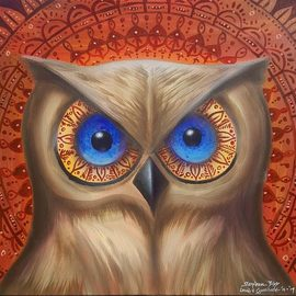 Stephen Bibb: 'owl mandala', 2019 Acrylic Painting, Mandala. Artist Description: Mysterious owl being within the patterns of mandala...