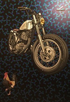 Stephen Hall: 'Molecular Motivation', 2015 Acrylic Painting, Surrealism. Artist Description:  Motorbike, Yamaha SR500, Rooster, Molecules, Straight Edge Razor          ...