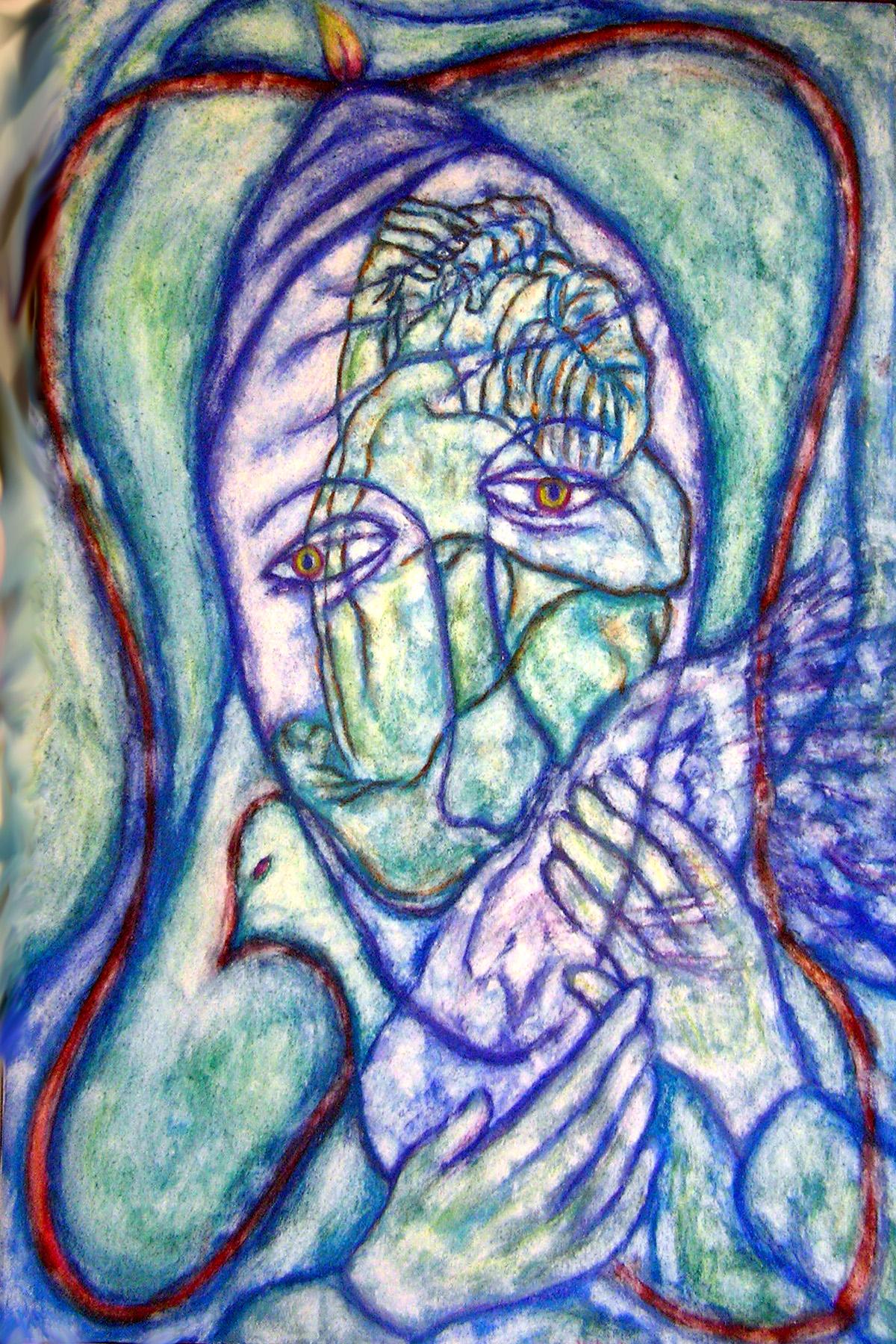 Stephen Mead Artwork 'HeartLikeMarys', 1996. Watercolor. Healing. Artist Description: Evocative spiritual piece inspired, in part, by Joni Mitchell' s