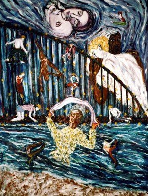 Stephen Mead: 'Salutations', 1991 Oil Painting, Visionary.  Evocative mural size work, part of the DVD