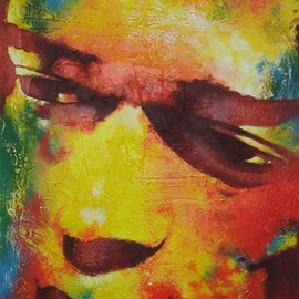 Steve Coughlin: 'jimi', 2011 Acrylic Painting, Portrait. Artist Description:   large colourful original painting of jimi hendrix, heavily textured       ...