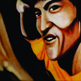 Steve Meyerholz: 'bruce lee', 2019 Acrylic Painting, Famous People. Artist Description: The black belt martial arts master, Bruce Lee, inspired this painting. Bruce Lee was my childhood hero and I wanted to paint a realistic picture of him so that people who saw it would be reminded of his awe- inspiring martial arts skills. I have mastered many different ...