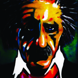 Steve Meyerholz: 'einstein', 2017 Acrylic Painting, Famous People. Artist Description: This painting was inspired by one of the most well- known inventors of all times. You probably recognize who it is, but for those of you who donaEURtmt, itaEURtms Albert Einstein.  I painted a portrait of Einstein with a cartoon- like style with high quality acrylic ...