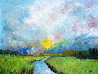 Steve Scarborough Artwork Marsh, 2015 Oil Painting, Boating