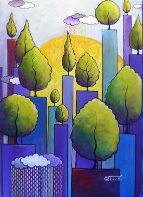 Artist: Giuseppe Sticchi - Title: Pioggia nel bosco - Medium: Acrylic Painting - Year: 2011