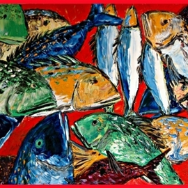 Stjepko Mamic: 'MEXICO', 2006 Oil Painting, Fish.