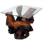 Sculptured Redwood Glass Top End Table, Daryl Stokes