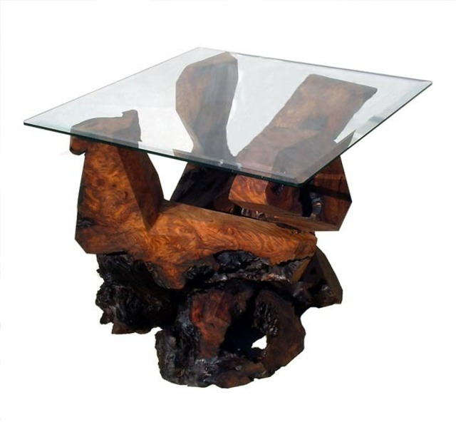 Daryl Stokes  'Sculptured Redwood Glass Top End Table', created in 2009, Original Sculpture Wood.