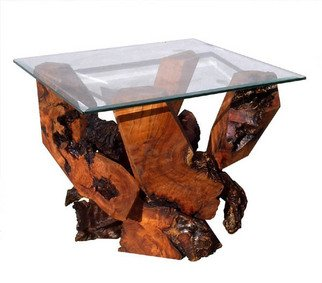 Daryl Stokes: 'Sculptured Redwood Glass Top End Table DS 16710', 2009 Wood Sculpture, Abstract. Artist Description:  Striking Redwood burl glass top end table with a dramatic base design that combines bold sculptural forms with organic beauty. The polished geometric wood components interact gracefully with their rustic gnarly burl counterparts to produce a visually intriguing structure with sharp contrasts. The burl end table supports a ...