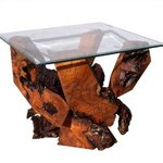 Sculptured Redwood Glass Top End Table Ds 16710, Daryl Stokes