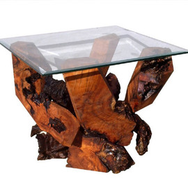 Daryl Stokes Artwork Sculptured Redwood Glass Top End Table DS 16710, 2009 Wood Sculpture, Abstract