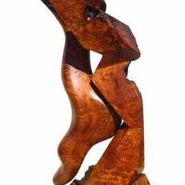 Daryl Stokes: 'Second Nature', 2010 Wood Sculpture, Abstract. Artist Description:  Dramatic abstract redwood sculpture composed of two similar yet contrasting entities that mimic each other. The dominant smooth sensuous form appears to emerge from its angular geometric counterpart. Although they are somewhat congruent in form, each entity is quite unique in character creating sharp visual contrasts. The theme ...