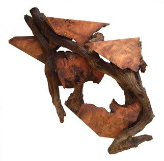 Wood Sculpture by Daryl Stokes titled: Soaring Through Time Redwood Abstract Wall Sculpture , 2009