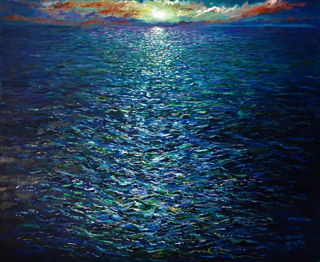 Gil Garcia  'Deep Ocean Sunset', created in 2019, Original Painting Oil.