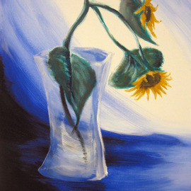 Paulina Nadalin: 'Lonely', 2010 Acrylic Painting, Floral. Artist Description:  Two sunflowers in a glass vase surrounded by drapes. Used a model. ...