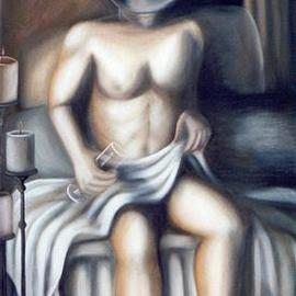 Claudia Perez: 'STILL WAITING', 2000 Oil Painting, Nudes.
