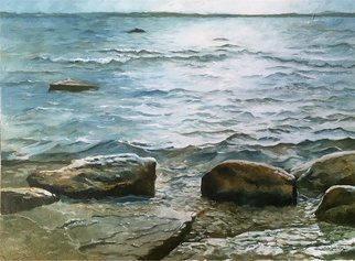 Thor-leif Strindberg: 'lake vättern at borghamn', 2017 Oil Painting, Seascape.