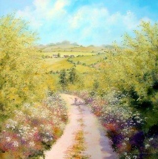 Landscape Acrylic Painting by Stuart Parnell Title: Farm track in spring, created in 2007