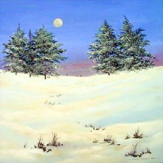 Landscape Acrylic Painting by Stuart Parnell Title: Sheep in the snow, created in 2007