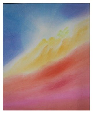 Ana Maria Studart: 'sunshine', 2018 Watercolor, Abstract Landscape. Artist Description: Watercolor painting, veiled technique, with 91 layers of paint. Thesunshine is a painting inspired by the sushine atmosphere. ...